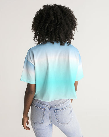 Ocean Blue Ombre Oversized Cropped Tee