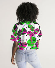 Tropical Leaves Dots Oversized Crop Tee