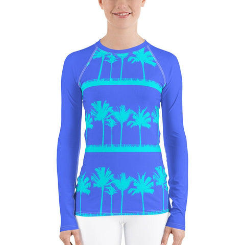 Tropical Blue Palms Rash Guard