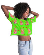 Tropical Lime Oversized Cropped Tee
