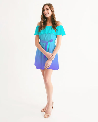 Bahama Blue Ombre Off Shoulder Dress