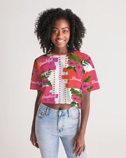 Pink Hibiscus Oversized Cropped Tee