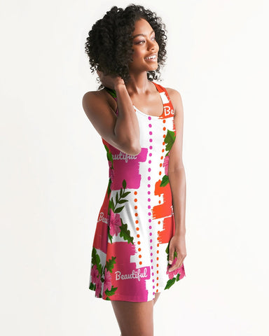 Pink Hibiscus Beautiful Graphic Print Dress