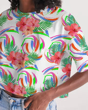 Tropical Hibiscus Oversized Cropped Tee