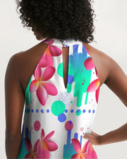 Pink Plumeria Halter Dress