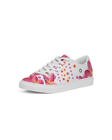 Pink Plumeria Floral Dots Sneakers