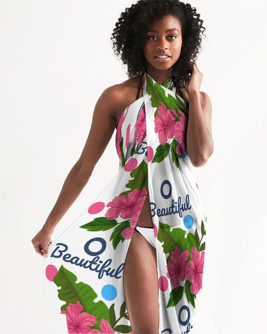 Tropical Hibiscus White Swimsuit Cover Up