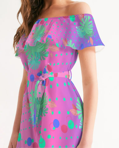Tropical Dots Ombre Off Shoulder Dress