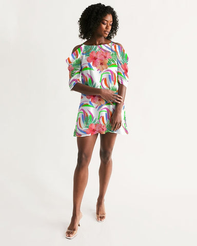 Tropical Hibiscus Cold Shoulder Dress