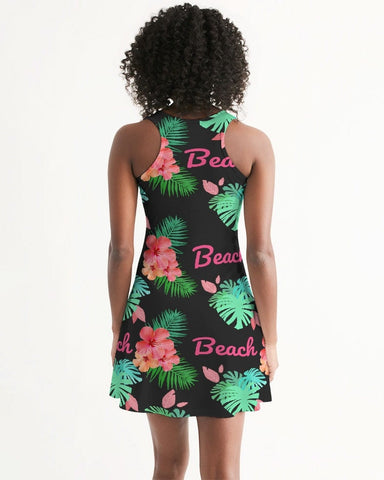 Tropical Beach Flora Black Racerback Dress