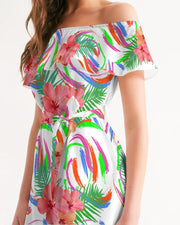 Tropical Hibiscus Off Shoulder Dress