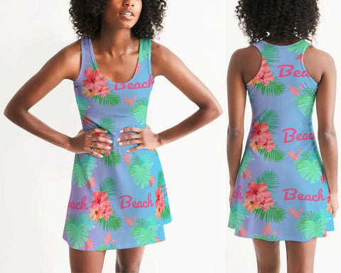 Hibiscus Beach Ombre Blue Dress