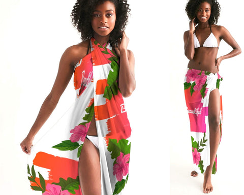 Beautiful Pink Hibiscus Swim Cover Up