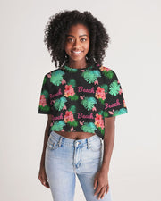 Tropical Beach Oversized Cropped Tee