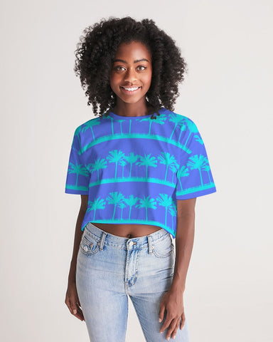 Blue Palms Cropped Top
