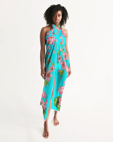 Floral Lotus Turquoise Swimsuit Cover Up