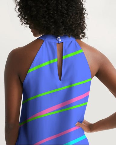 Blue Color Daze Halter Dress