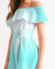 Ocean Blue Ombre Off-the-Shoulder Dress