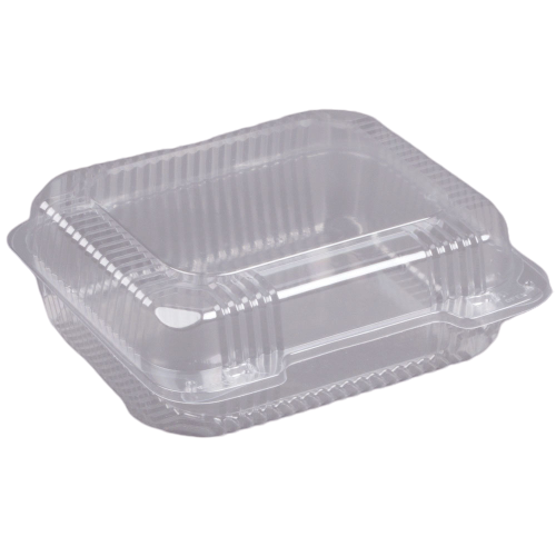 "Medium 8 1/4"" x 8 1/4"" x 3"" Clear Hinged Take-Out Containers (250/Case)"