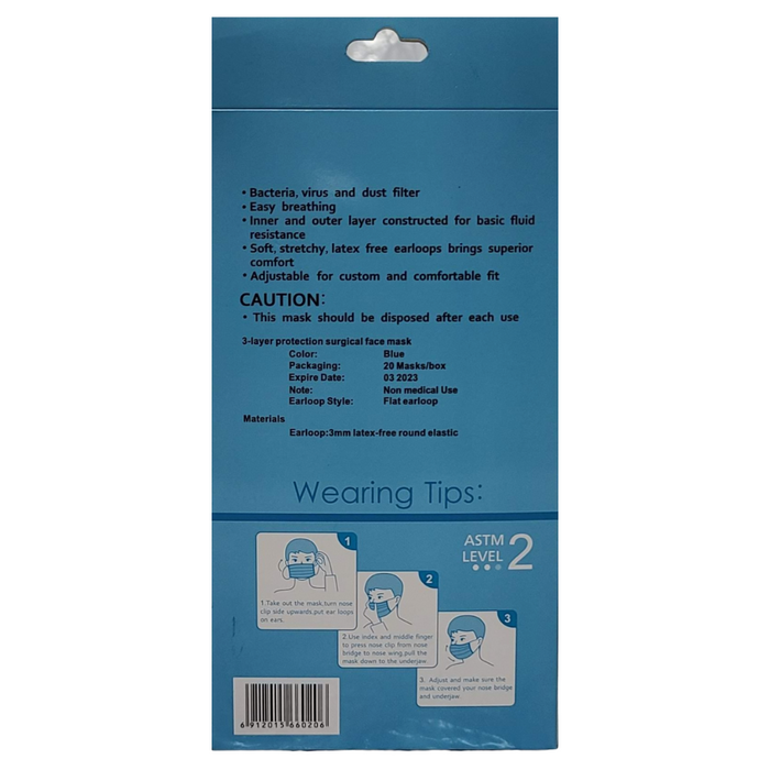 Disposable 3-Ply ASTM LEVEL 2 Face Mask 20 Pack (Safetyfirst Brand)