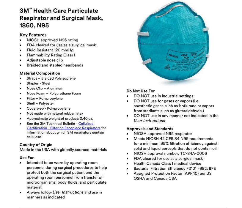 3M™ 1860 Health Care N95 Respirators