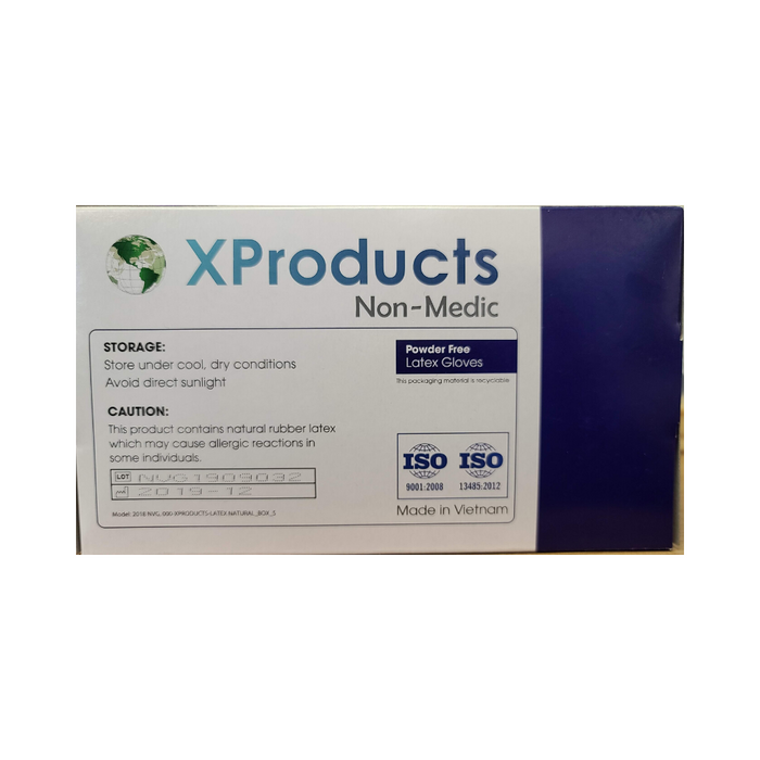 XProducts Powder Free Latex Gloves 100/Box