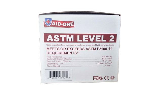 Disposable 3-Ply ASTM LEVEL 2 Face Mask 50 Pack (Aid-One)
