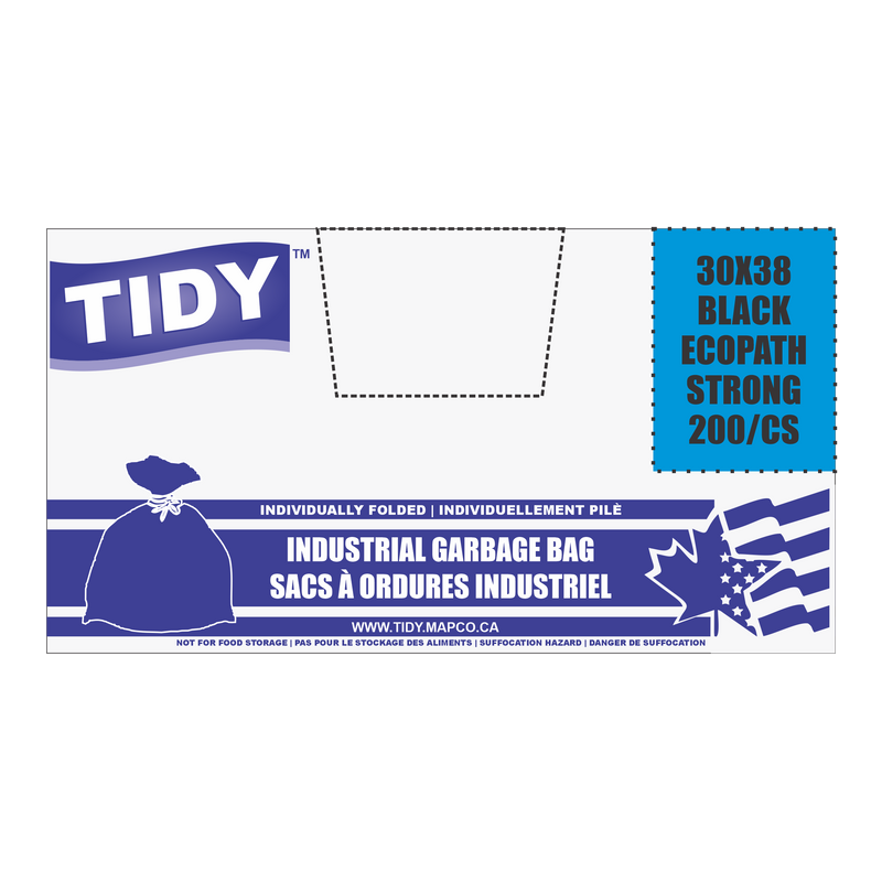 30 X 38 BLACK GARBAGE BAG TIDY INDUSTRIAL PACK