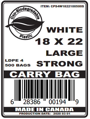 S4 PRINTED WHITE BIODEGRADABLE CARRY BAG
