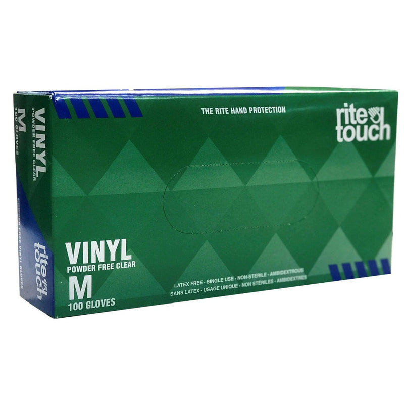 RiteTouch Non-Sterile Powder-Free-Latex Free Vinyl Gloves (100/Box)