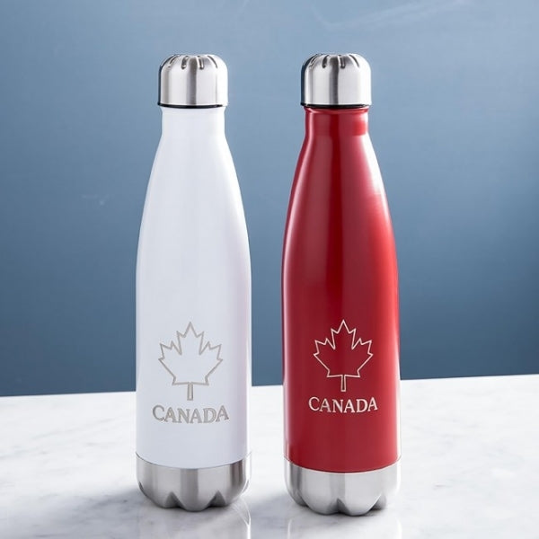 Stainless Steel Water Bottle 17oz w/ Canada Print