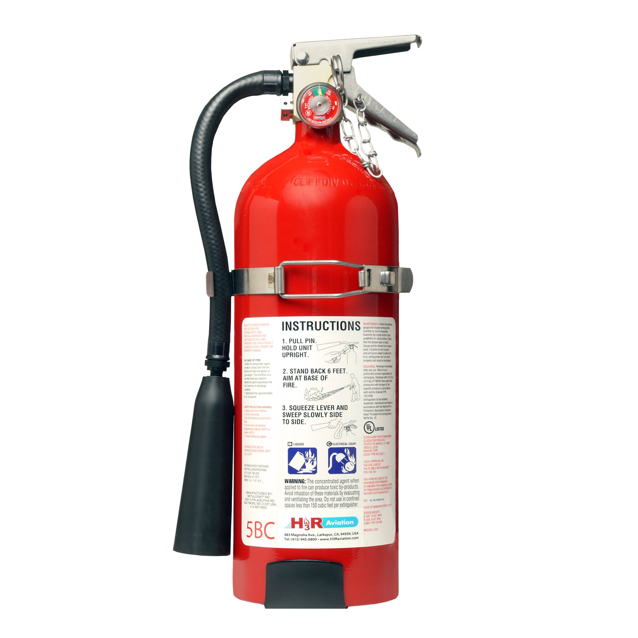 MODEL FM10T - 10.75 lb. FM-200 Fire Extinguisher