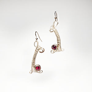 Abstract Free Form Earrings with Garnets