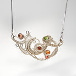 Abstract Horizontal Curly Pendant with Mixed Tourmalines Necklace