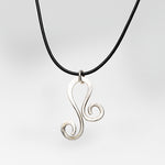Abstract Solid Sterling Silver Pendant on Leather