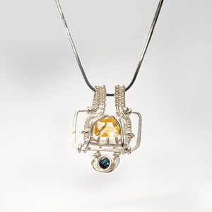 Load image into Gallery viewer, Abstract Geometric Pendant with Yellow Citrine and Sapphire Necklace