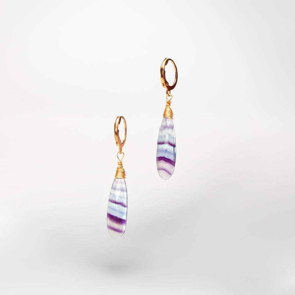 Faceted Flourite On Copper Earrings