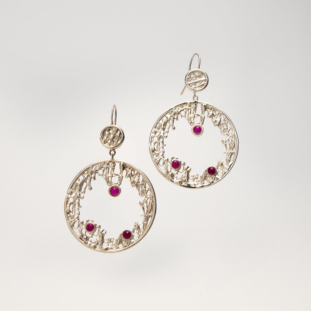 Forward Facing Large Abstract Hoop Earrings with Rubies