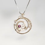 Free Form Spiral Pendant with Pink Garnet Necklace