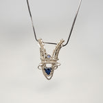 "Open  ""V"" Shaped Pendant with 2 Lolites Necklace"