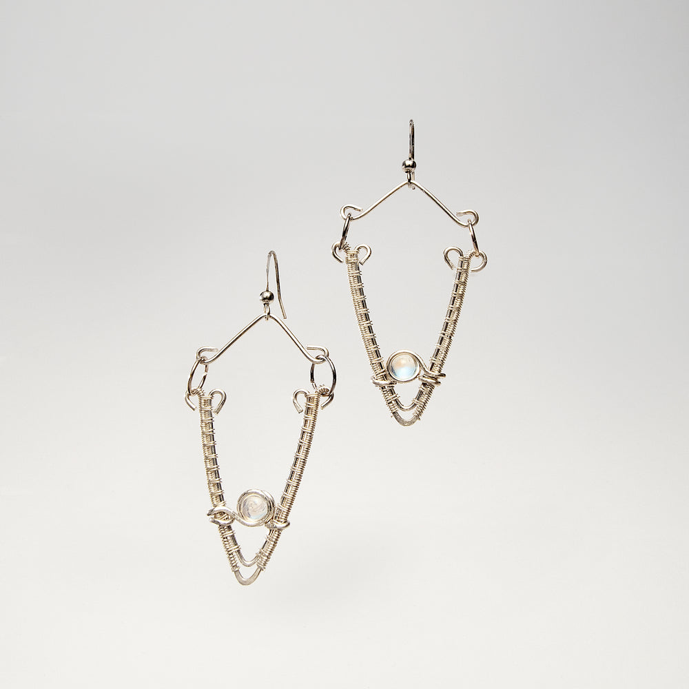 Open V Shaped Sterling Silver Earrings with Moonstone Earrings