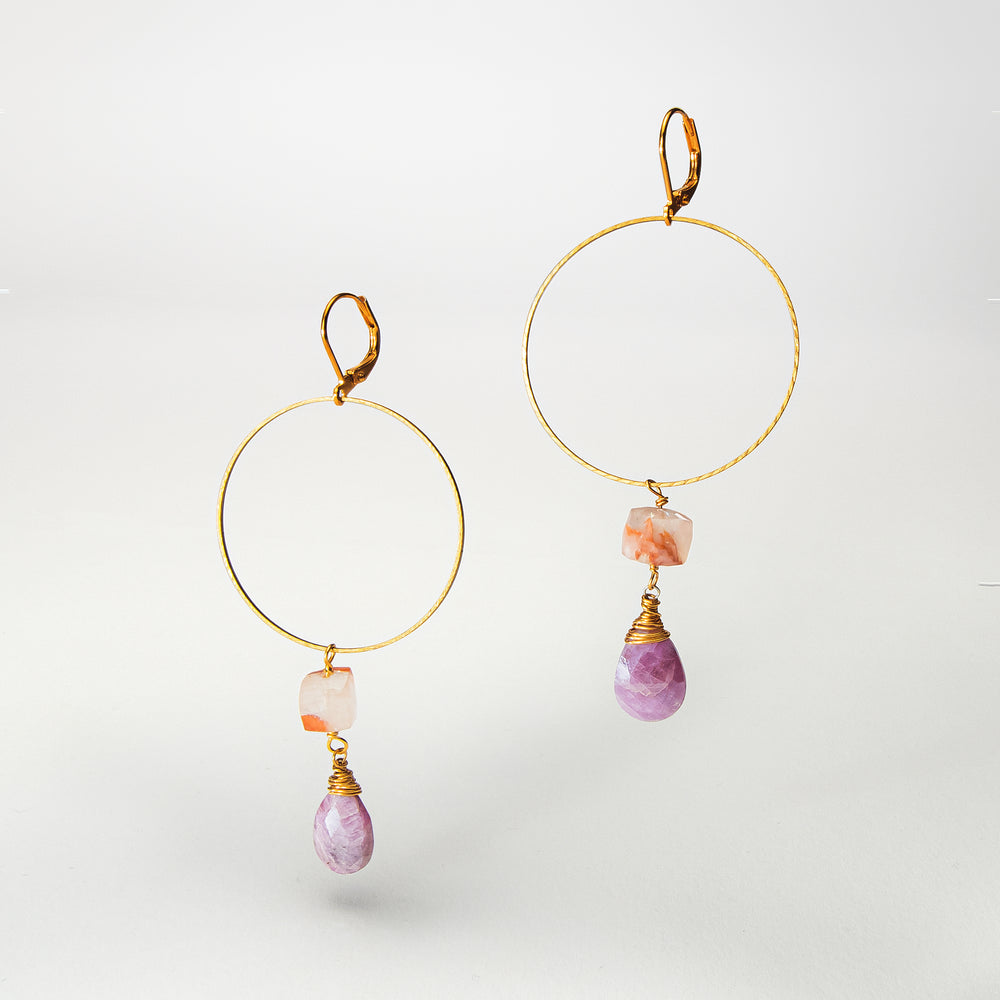 Load image into Gallery viewer, Pink Opal Earrings