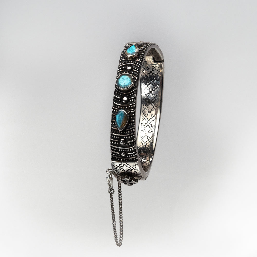 Silver Bangle with Labradorite