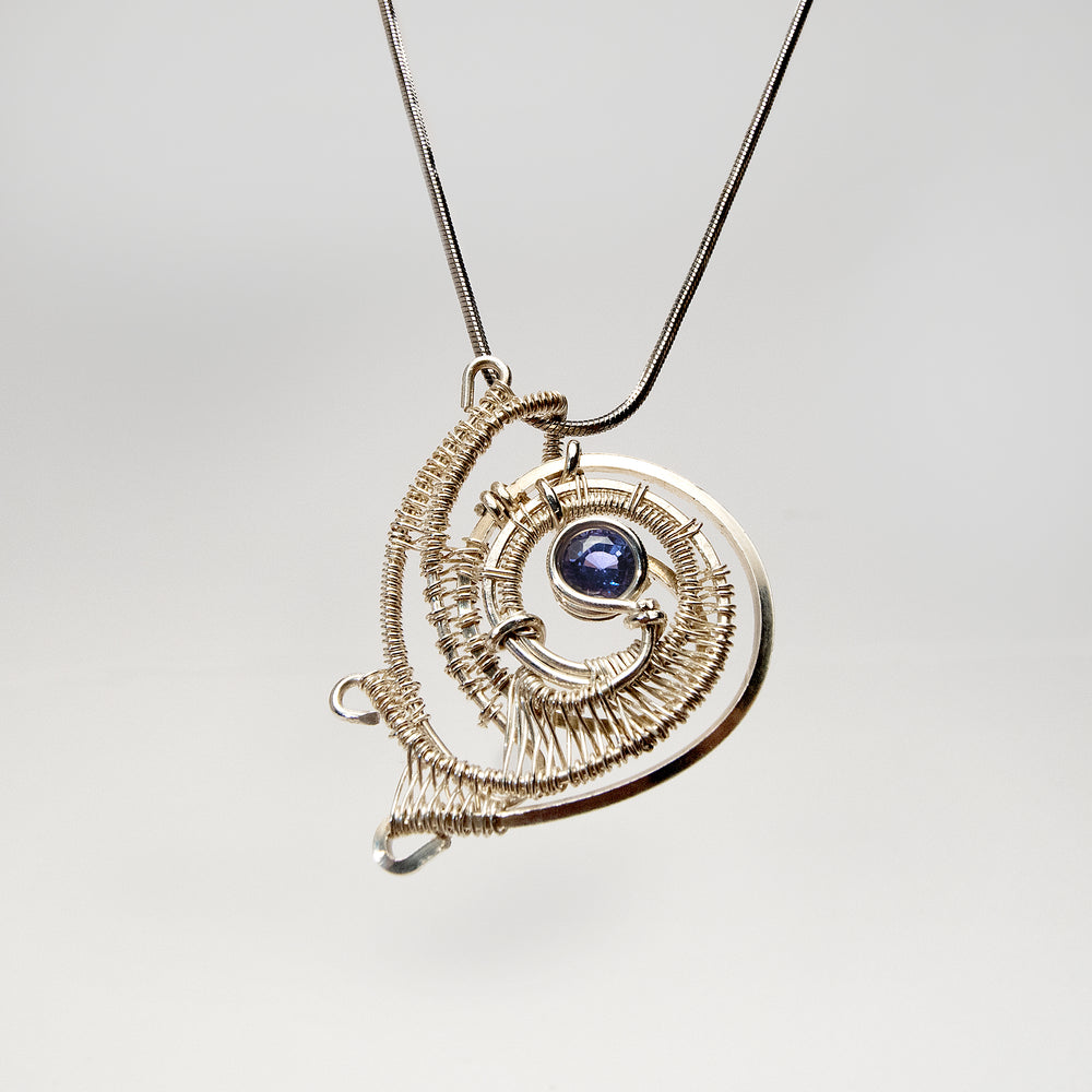 Spiral Free Form Shaped Pendant with Tanzanite Necklace