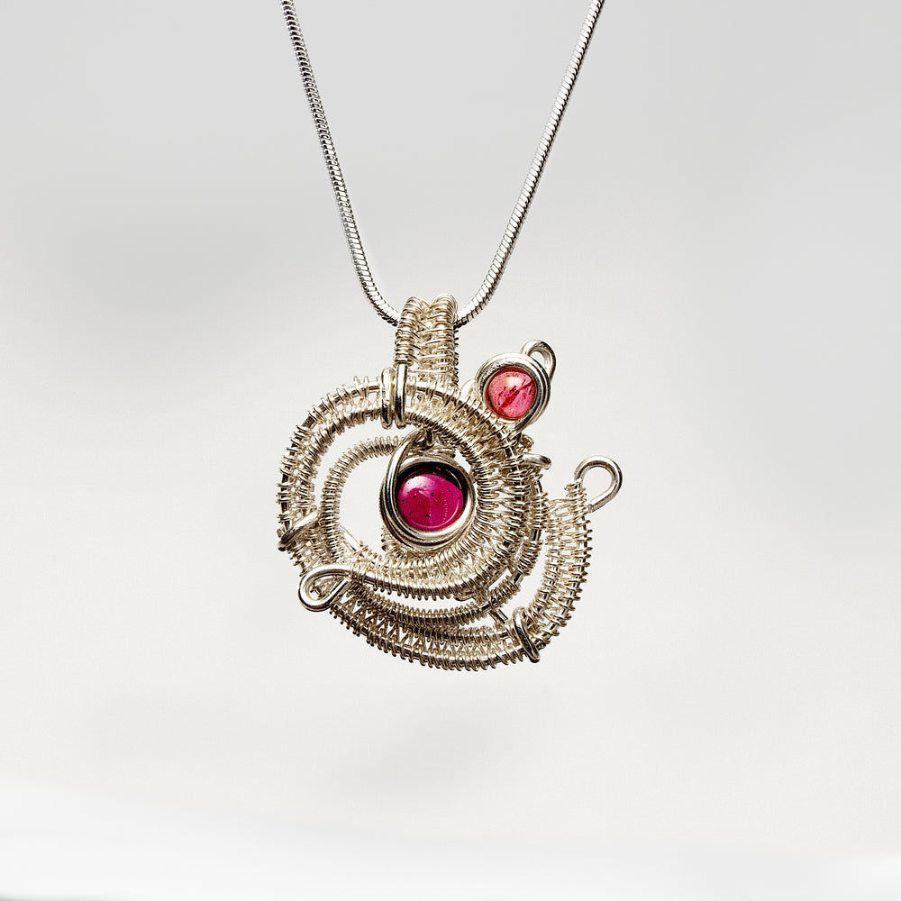 Spiral Free Form Shaped Pendant with Garnet & Pink Tourmaline Necklace