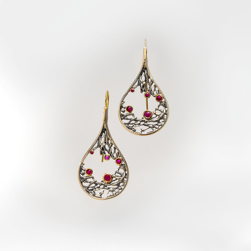 Tear Drop Shaped Earrings with Rubies