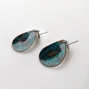 Load image into Gallery viewer, The Patina Teardrop Earrings_BACK