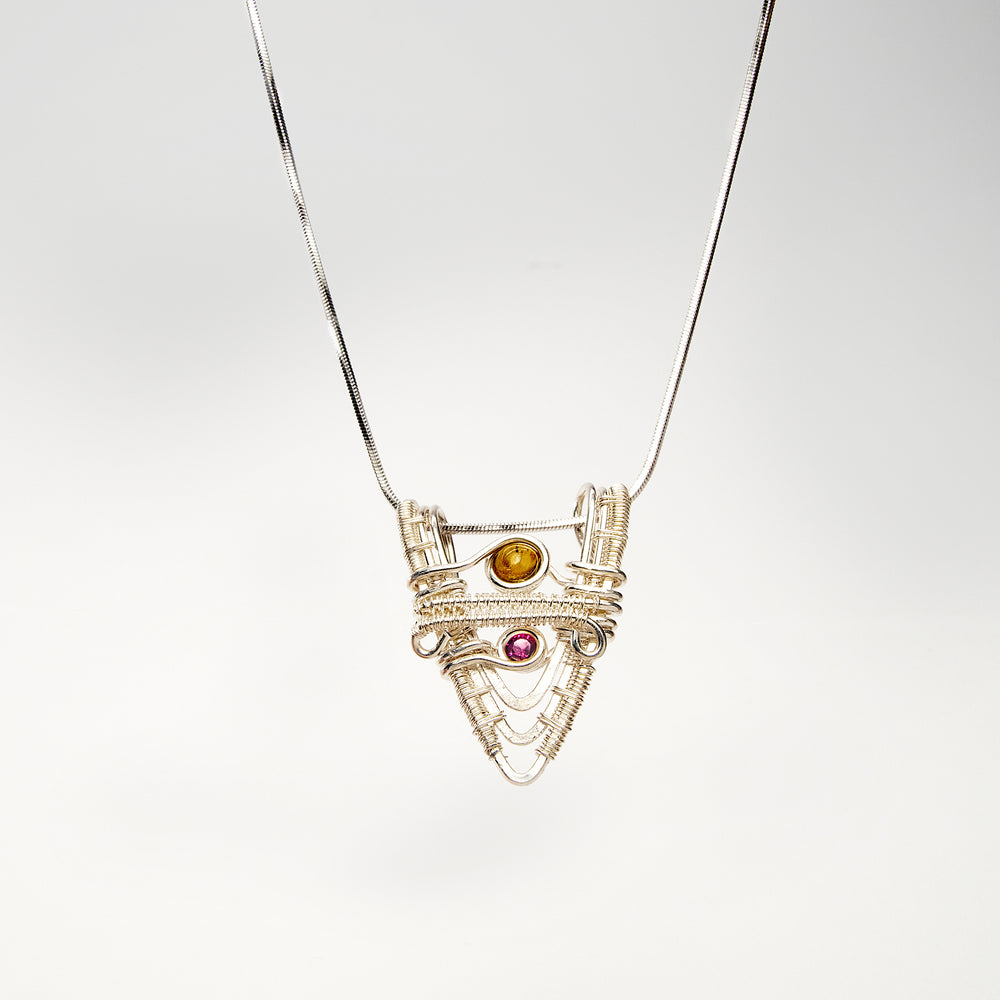 """V"" Shaped Pendant with Yellow Tourmaline and Pink Garnet Necklace"