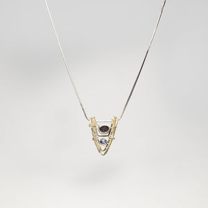 V Shaped Pendant Druzy and Tanzanite Necklace