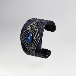 Load image into Gallery viewer, X-Wide Cuff Lapis Snakeskin
